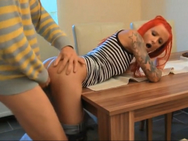 Punk redhead in amateur porn video