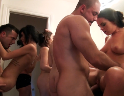 Two lucky guys get a warm welcome at an all girls orgy