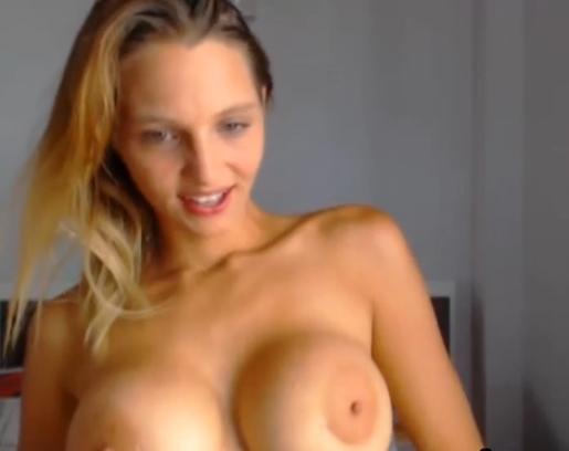Big Tits Blonde Sucking a Dildo HD