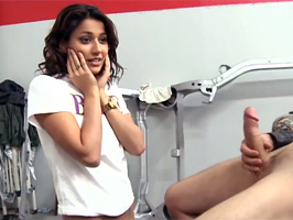 Shy brunette Latina is surprised that she can take all of AJ's hard cock