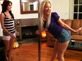 A pair of cock hungry girlfriends crash a party and start an orgy