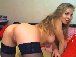 Hot Blonde With Shaved Pussy Masturbates