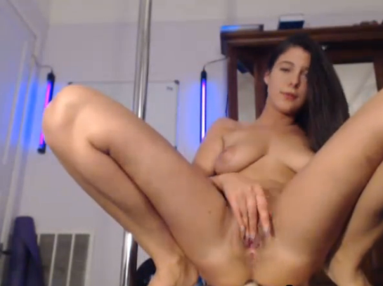 HOT Busty Pole Dancing Babe Rides a Dildo