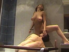 Busty amateur girlfriend sucks and fucks in her bathroom