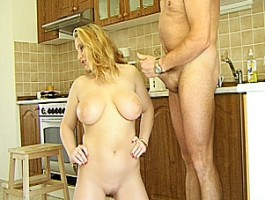 Busty amateur Milf sucks and fucks in her kitchen