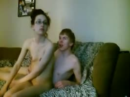 Skinny couple 69 and fuck on the sofa