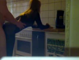 Teen in nylons fucked in the kitchen