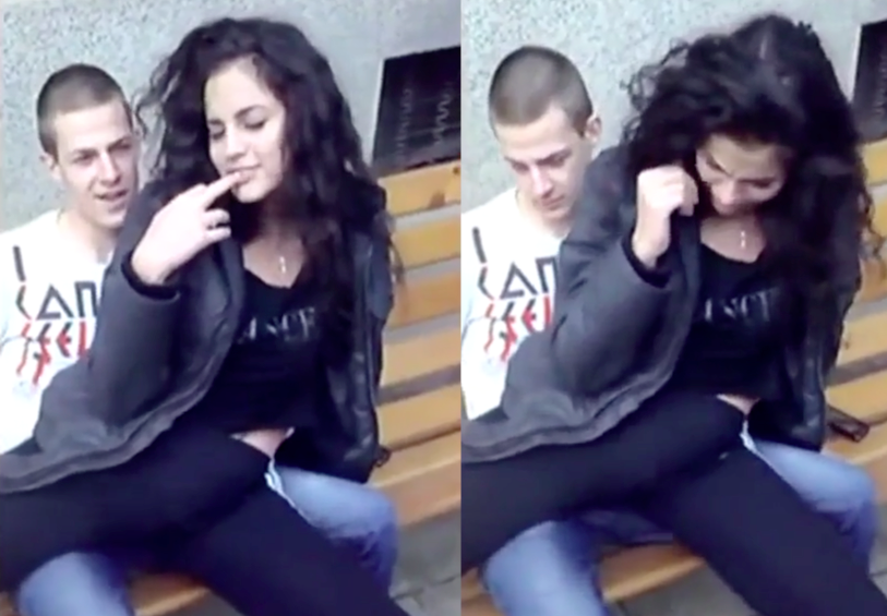 Teen Lets 2 Friends Play With Her Pussy In Public