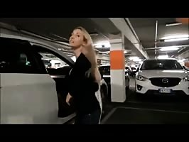 Blonde sucks and fucks in public parking