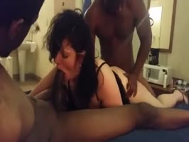 MILF versus two big black cocks