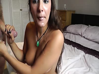 Busty brunette gets facial after doggystyle sex