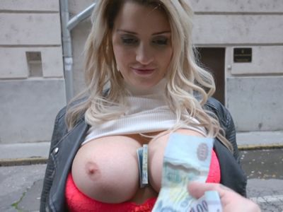 Hot Czech babe flashes her massive boobs and pounded