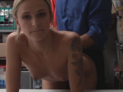 Blonde whore gets caught stealing and gets fucked hard