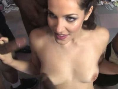 Slutty white girl Bobbi Starr gets on knees and sucks off numerous black dicks
