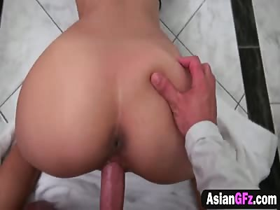 Asian Girlfriend Gets Shaved Cunt Roughly Filled