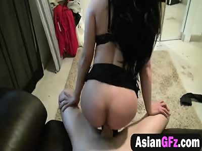 Asian girlfriend rubbing pussy clit in reverse sitting fucking with meaty white cock meat lover