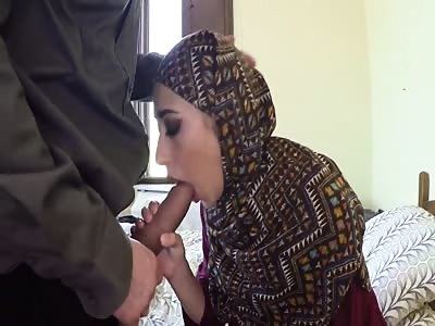 Arab woman in hijab has sex with big man