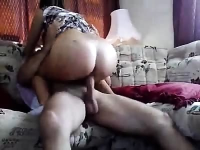 Pounding young girlfriend in the ass and a pussy