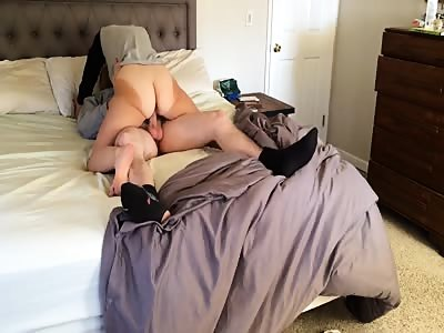 Wide-ass tanned wife riding cock HD