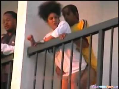 Ghetto slut fucks and talks with neighbor
