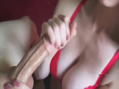 Handjob cum on perfect big boobs
