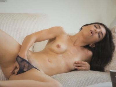 Horny chick in lingerie distracts herself by fingering and masturbating