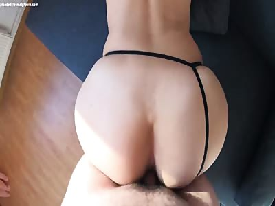 Perfect round ass creampie after doggystyle sex