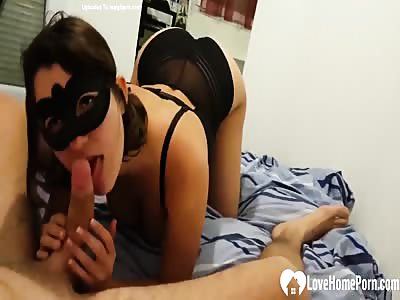 Masked sweetie wants to suck a cock