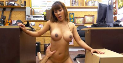 Big tits Asian Tiffany sucks and rides pawn dudes big cock