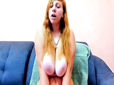 Blonde Babe with Huge Tits Has Shaking Orgasm on Cam