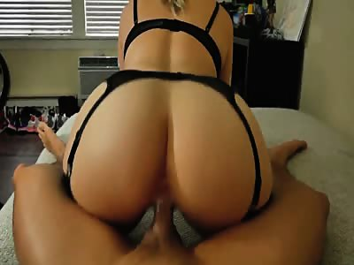 Hot ass babe in stockings creaming on his cock