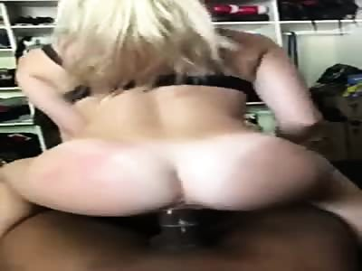 Stunning blonde knows how to ride black dick