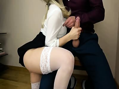 Gorgeous blond fuck and swallow in her sexy work outfit