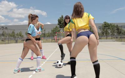 Latina soccer team fucked by lucky coach