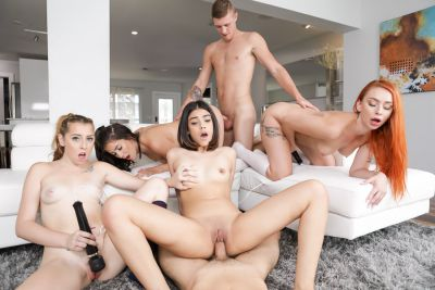 Coeds invite cocks for sixsome orgy