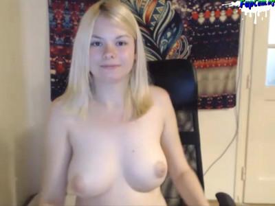 Chubby Blonde Amateur Teen Cheerleader with big tits masturbating on webcam