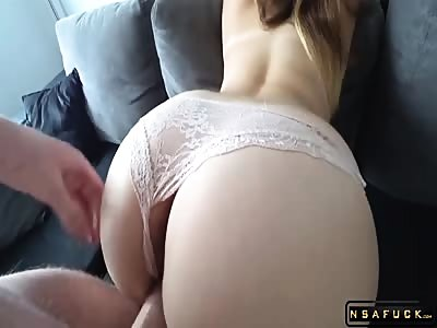 Doggystyle fucking Hot ASS brunette with her panties on