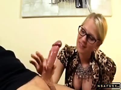 Dominant Sexy Blonde Milf Puts Her Handjob Talents Into Action