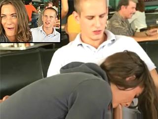 Cafe waitress interrupts public blowjob!